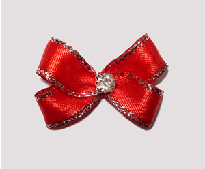 #PBTQ510 - Petite Boutique Dog Bow - Royal Red w/Silver