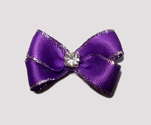 #PBTQ540 Petite Boutique Dog Bow- Royal Purple w/Silver