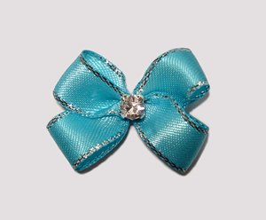 #PBTQ550 Petite Boutique Dog Bow Turquoise Blue w/Silver