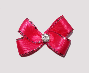 #PBTQ560 Petite Boutique Dog Bow Shocking Pink w/Silver
