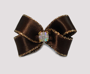 #PBTQ561 Petite Boutique Dog Bow Chocolate Brown w/Gold