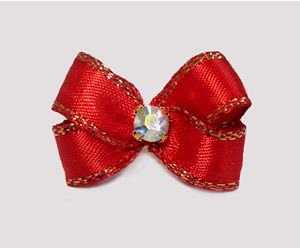 #PBTQ564 Petite Boutique Dog Bow Classic Red w/Gold