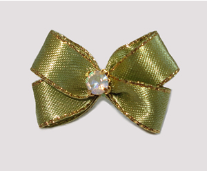 #PBTQ566 Petite Boutique Dog Bow Soft Green w/Gold