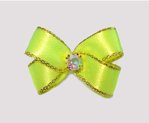 #PBTQ568 Petite Boutique Dog Bow Lemon Lime w/Gold