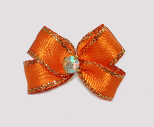 #PBTQ570 Petite Boutique Dog Bow Vibrant Orange w/Gold