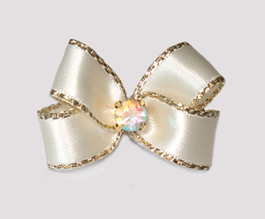 #PBTQ575 - Petite Boutique Dog Bow - Ivory/Cream w/Gold