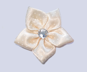 #PP130 - Pretty Petals Barrette - Satin Flower, Elegant Cream