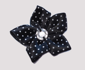 #PP140 - Pretty Petals Barrette - Satin Flower, Classic Black