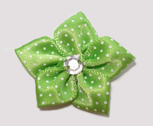 #PP190 - Pretty Petals Barrette - Satin Flower, Apple Green