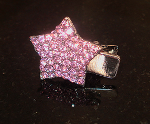 #S0019 - Dog Rhinestone Hair Clip - Sparkly Pink Star