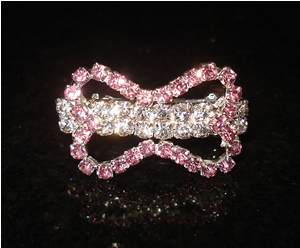 #S0028 - Dog Rhinestone Hair Barrette - Sparkly Tiny Pink Bow