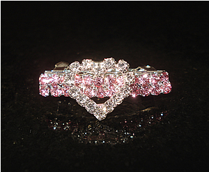 #S0030 - Dog Rhinestone Hair Barrette - Pink with Sparkly Heart