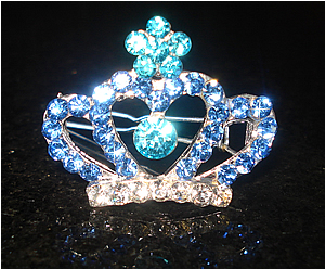 #S0050 - Dog Rhinestone Hair Barrette - Sparkly Blue Crown