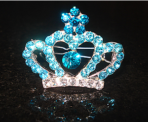 #S0070 - Dog Rhinestone Hair Barrette - Sparkly Aqua Crown