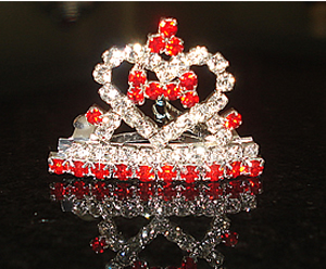 #S0094 - Dog Rhinestone Hair Barrette - Crown w/ Heart/Bone, Red