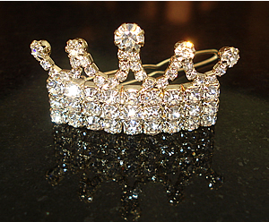 #S0097 - Dog Rhinestone Hair Barrette (Gold) - Sparkling Crown