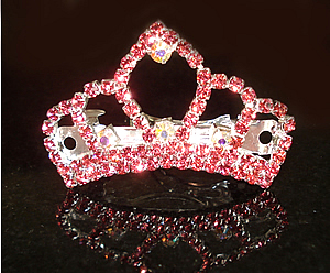 #S0535 - Dog Rhinestone Hair Barrette - Sparkling Pink Crown