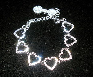 #S0563 - Dog Rhinestone Necklace - Sparkling Hearts w/Bone, XS
