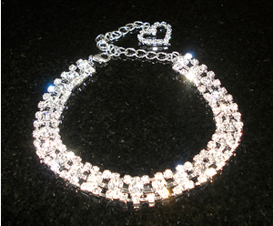 #00S0565- Dog Rhinestone Necklace - Sparkly Three Strand w/Heart