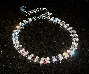 #00S0570- Dog Rhinestone Necklace - Sparkly, Classic, Two Strand