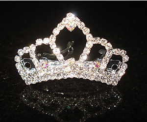 #S0500S- Dog Rhinestone Barrette - Gorgeous Sparkling Crown, XS
