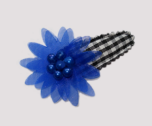 #SC0403 - Dog Snap Clip - Organza Flower, Black Gingham w/Blue
