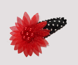 #SC0404 - Dog Snap Clip - Organza Flower, Classic Red on B/W
