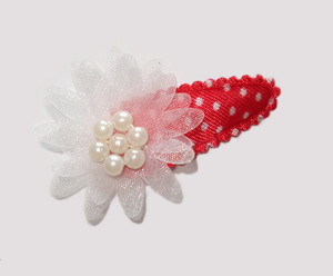 #SC0408 - Dog Snap Clip - Organza Flower, Minnie Mouse Dots