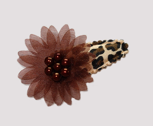 #SC0410 - Dog Snap Clip - Organza Flower, Brown on Leopard