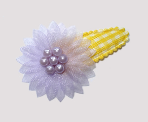 #SC0416- Dog Snap Clip- Organza Flower, Yellow Gingham, Lavender