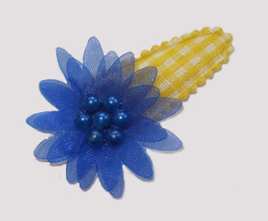 #SC0418 - Dog Snap Clip - Organza Flower, Yellow Gingham w/Blue