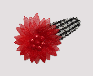 #SC0419 - Dog Snap Clip - Organza Flower, Black Gingham with Red