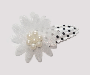 #SC0420 - Dog Snap Clip - Organza Flower, Chic & Angelic White
