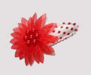 #SC0430 - Dog Snap Clip - Organza Flower, Classic Red on White
