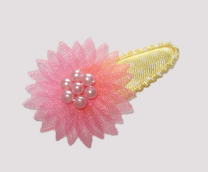 #SC0450 - Dog Snap Clip - Organza Flower, Baby Sweet Pink/Yellow