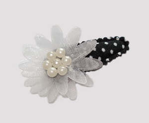 #SC0460 - Dog Snap Clip- Organza Flower, Simply Chic Black/White