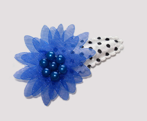 #SC0490 - Dog Snap Clip - Organza Flower, Classic Blue on White