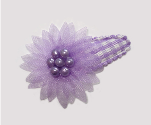 #SC0510 - Dog Snap Clip - Organza Flower, Lovely Lavender