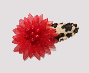 #SC0530 - Dog Snap Clip - Organza Flower, Red, Leopard Print