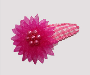 #SC0540 - Dog Snap Clip - Organza Flower, Hot Pink