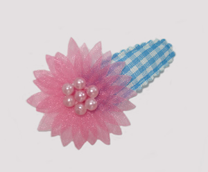 #SC0542 - Dog Snap Clip - Organza Flower, Blue Gingham w/Pink