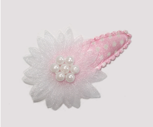 #SC0544 - Dog Snap Clip - Organza Flower, Baby Sweet White/Pink