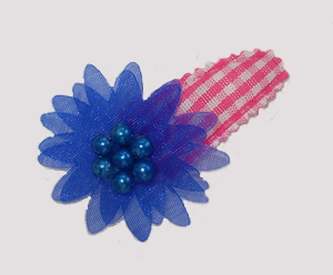 #SC0548 - Dog Snap Clip - Organza Flower, Pink Gingham w/Blue - Click Image to Close