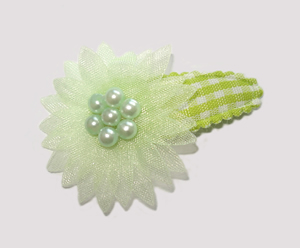 #SC0550 - Dog Snap Clip - Organza Flower, Summer Green