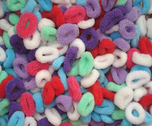 #SF0040 - MINI Scrunchies - Assorted, Cool Colors, 35 pc