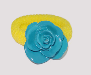 #SF0200 - Scrunchie Fun - Yellow Band, Blue Rose