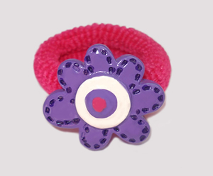 #SF0220 - Scrunchie Fun - Hot Pink Band, Purple Flower