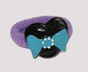 #SF0250 - Scrunchie Fun - Purple Band, Black Heart w/Blue Bow