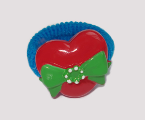 #SF0260 - Scrunchie Fun - Blue Band, Red Heart w/Green Bow