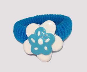 #SF0380 - Scrunchie Fun - Blue Band, White/Blue Flower